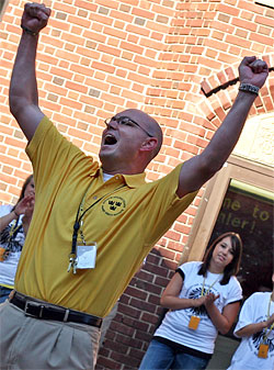 Kris Kracht leads a vocal warm-up at the third Gustavus Summer Speech Institute. (Photo by Amy McMullan '10)