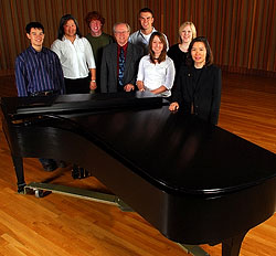 Music Department Chair David Fienen with faculty pianists and some piano students. (Photo by Tom Roster)